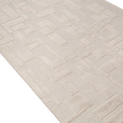 Jaipur Rugs - Hand-Tufted Looped and Cut Wool Ivory/White Area Rug (8 x 10) - An urban contemporary styled rug collection that updates your living area with bold patterns. Ranging from soft neutrals to strong colors these rugs could live in any home.