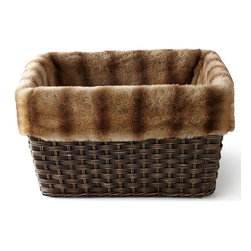 """Horchow - Large Faux-Fur-Lined Basket - TAN - Large Faux-Fur-Lined BasketDetailsEXCLUSIVELY OURS.Faux fur made of modacrylic and polyester.Basket made of seagrass and wicker on a metal frame.Detachable/removable faux-fur liner.20.75""""W x 15.75""""D x 12""""T.Imported."""