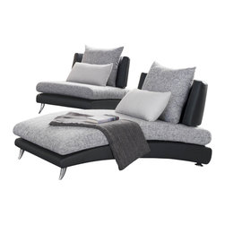 Homelegance - Homelegance Renton Upholstered Chaise in Black and Grey - The cool curving lines of the Renton collection flow within the defined spectrum of modern design, yet exhibit a flair that sets it apart from all others. Convex metal legs support the black bi-cast vinyl body of each curvaceous piece flowing to woven grey and white fabric seating. Each armless piece is a statement, with offerings including a chair, sofa and chaise - which can be joined together to form a comfortable sectional. The collection will be a perfect addition to your ultra contemporary home.