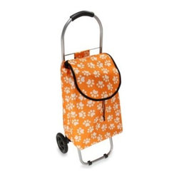 Household Essentials/real Simple - Household Essentials Small Rolling Shopping Cart in Paw Prints - This freestanding shopping cart makes transporting groceries and other items a breeze. It features two, easy-roll wheels, a front stabilizer bar, comfort-grip pull handle, and a durable nylon bag with quick-release closure and a handy outside pocket.