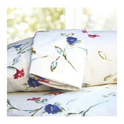 Tribeca Living - Floral Garden Printed Extra Deep Pocket Flannel Sheet Set - An enchanting mix of colors in this floral flannel sheet set will make it hard to resist. Crafted of 6-oz triple-brushed cotton for the softest finish and feel. 24-inch deep pocket sheet to fit comfortably on extra deep and pillowtop mattresses.