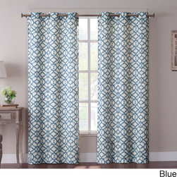 None - Tanjiers Ikat 84 inch Grommet Curtain Panel Pair - Measuring 84 inches long,these panels feature a busy ikat-inspired pattern available in three different color schemes. A soft blend of cotton and polyester,the two-panel set is easily machine washable.