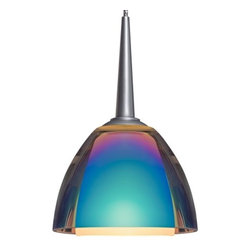 "Bruck Lighting - Rainbow I LED Pendant Light w Dichroic Rainbow Glass (Chrome 2 in. Canopy) - Finish: Chrome 2 in. Canopy. Pictured in Matte Chrome. Glass Color: Dichroic Rainbow Glass. Mounting: No Canopy. Energy efficient . 12V AC/DC Input * 700mA DC constant current output. 6A, 5W for 1 (3 Watt LED) Included * 3000K / 68 Ipw. Suitable for dry location only. Compatible with selected Bruck electronic transformers and must meet the minimum VA. Overall Dimensions: 2.6"" H x 3.4"" Dia. Technical SpecsThe Rainbow I 3 Watt LED Pendant with two glass shades, inner cased glass is frosted white. Outer glass is clear with a dichroic coating or with colored glass. The dichroic coated glass has a liquid mercury-like finish when off but when lit will show a fusion of dichroic colors. Uni-plug design, allows the Rainbow I 3 Watt LED pendant to be mounted on any lighting system through the use of an appropriate adaptor, not included. Standard cable length of 59""."