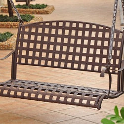 International Caravan - Santa Fe Iron Hanging Porch Swing in Antique - Swing stand not included. Includes assembly instructions and 4 ft. hanging chain. Easy to assemble. Double powder coated for complete rust protection. Weight capacity of 325 lbs.. Made from premium wrought iron. Minimal assembly required. 46 in. W x 24 in. H x 20 in. D (135 lbs.)