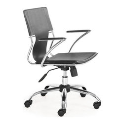 ZUO - Trafico Office Chair - Black - A fun office chair that combines a modern and transitional look. The Trafico Office Chair has a solid chrome frame, leatherette sling seat and arm pads, a chrome base, and adjustable height. Comes in red, black, white, espresso or red.