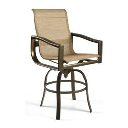 Winston Belvedere Sling Swivel Bar Stool - There's no better weather than warm weather for a cool cocktail on the patio -and there's no better place to perch while you're sipping it than the Winston Belvedere Sling Swivel Bar Stool. Perfect for spacious poolside and patio dining areas, this high-backed bar-height stool is crafted with a durable aluminum frame with a four-legged swiveling base, contoured arms, and a sturdy sling-style fabric seat - you choose from a variety of fabric colors and grades. The heavy-walled frame is covered by a 15-year warranty ensuring replacement, repair, or refinishing if they fail within 15 years from the date of purchase. Paint finishes - you choose from a selection of them, too, for a completely customized look - have a five-year warranty covering blistering and peeling within five years from the date of purchase.About Winston Furniture Company Started in 1975, Winston Furniture Company manufactured simple aluminum furniture with virgin vinyl straps. As the popularity of casual furniture increased and consumers craved comfort, Winston answered the call by being the first company to introduce cushioned, mildew-resistant fabrics for outdoor use. In 1982, Winston was once again at the forefront by adding stylish, easy-to-maintain sling furniture to its product line. Today, the Winston Furniture line is comprised of cushion and sling furniture with a host of styles. A variety of powder-coated paint finishes and sling colors, along with over a hundred fabric selections allow you to create just the look you need. All Winston Furniture products are proudly made in the U.S.A. in a state-of-the-art manufacturing facility in Haleyville, Alabama. Winston Furniture Company, Inc. has earned several design and service awards from retailers over the past 25 years. The most notable of these honors is the National Association of Casual Furniture Retailers'; (NACFR) Casual Furniture Manufacturer Leadership Award. Since the awards' inception in 1990, Winston is a four-time recipient as well as a finalist every year.