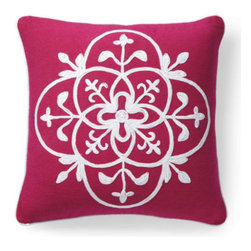 Grandin Road - Grenada Throw Pillow - Colorful crewelwork throw pillows. Finely ribbed, 100% cotton covers. Embellished with coordinated corded trim. Hidden zipper for easy removal. Polyfill insert included. Capture the cheerful, tropical energy of bright blue or hot pink throw pillows embellished with nautical crewelwork. Square pillow features a Pink or Baltic Blue ground adorned with one large medallion embroidered in white.  .  .  .  .  . Spot clean . Imported.