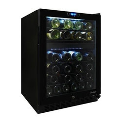 Vinotemp VT-46TS-2Z 46 Bottle Dual Zone Touchscreen Wine Cooler - Wine lovers will want to raise a glass to the Vinotemp VT-46TS-2Z 46 Bottle Dual Zone Touchscreen Wine Cooler. This 46-bottle capacity cooler holds a moderate collection of your favorite wines. A digital controller with blue LED readout allows you to set the cooler at two different temperatures - one for your reds and one for your whites. Designed with a front exhaust, this unit can be built-in or freestanding. Interior lighting, recessed handle, and sliding metal shelves allow for easy organization and retrieval of bottles.For more cooling technology information, please see our wine storage tips.About VinotempBased in Southern California since 1985, Vinotemp has proudly crafted custom built wine coolers for some of the finest restaurants and homes in the world. They've sold over 250,000 beautiful wine cellars in the United States and overseas. With a focus on quality, value, and service first implemented by founder Francis Ravel, Vinotemp continues the tradition of creating innovative storage solutions for your fine wine.