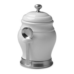 Williams Ceramic Coffee Canister with Spoon - I adore this simple coffee canister and its smart stainless steel touches.