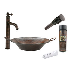 Premier Copper Products - Round Miners Pan Vessel Sink w/ ORB Faucet - PACKAGE INCLUDES: