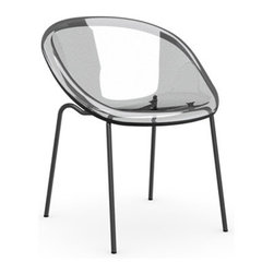Calligaris - Bloom Chair, Glossy Black Rim/Matt Black Legs, Set of 2 - An ultra edgy, ultra space age, ultra modern chair that's sure to make an ultra cool statement in any room. The clear shell tilts on stainless steel legs, creating a comfy cocktail chair for company or personal oasis for star gazing.