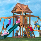 Deluxe Cedar Swing Sets with Monkey Bars - Our lineup of cedar playsets for kids has just about every activity you can think of while coming in at an affordable price. Your child can climb, swing, slide and hide all day on the High Flyer. To add more backyard appeal, the deluxe wood roof includes two decorative dormers which also provide plenty of shade over the spacious play deck. The rock wall provides a thrilling access point to the play deck. Then, their imagination will take off as they play with the steering wheel and swiveling telescope.