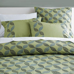 Organic Stamped Leaf Duvet Cover + Shams