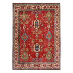 """ALRUG - Handmade Red/Rust Oriental Kazak Rug 6' 7"""" x 9' 1"""" (ft) - This Afghan Kazak design rug is hand-knotted with Wool on Cotton."""