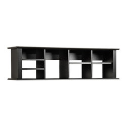 None - Broadway Black Wall Mounted Desk Hutch - This stylish black wall hutch by Broadway brings a unique style to any room. Made from MDF and wood composite,this hutch has four adjustable shelves and will fit binders perfectly,making it ideal for the home office or living room areas.