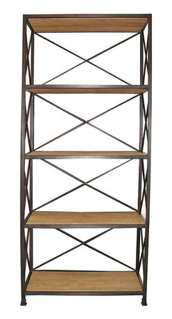 """Kathy Kuo Home - Stockport Metal Wood Industrial Rustic Open Bookcase - Stylish storage and display comes naturally to this multi-purpose metal and elm rack. A vintage industrial finish and natural waxed elm wood shelves give this bookcase universal appeal, making it at home in a metropolitan loft or lakeside setting. Decorative metal """"X"""" sides and lipped edges keep items steady. In the bath for towels and soaps or in the den for books and baubles, this shelf unit brings style and function to any room."""