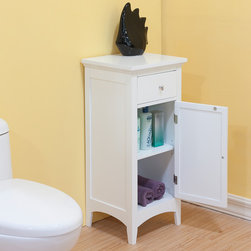 None - Bayfield White Shutter Door 1-drawer Floor Cabinet - Add stylish storage space in the bathroom with this one-drawer floor cabinet. It features one drawer and a shelf behind a door to give you ample place to keep bathroom essentials. The white finish adds a clean and cool touch to the room.
