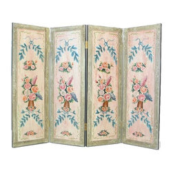 Wayborn - 4 Panel Wall Screen w Floral Accent - 4 Panels. Floral design. Hand painted. Cedar plywood frame. Worn look. 64 in. W x 48 in. H (35 lbs.)Hand painted screens start with a cedar plywood frame covered in a cheesecloth material. Then layer after layer of plaster is applied; each layer must dry before another layer can be applied. After all the plaster has been applied several coats of lacquer is put over the entire surface. At that time the artist begins to sketch out the painting directly on the panels of the screen and begins painting the design with water based paint. Each one of these screens has its own characteristics and is truly a work of art.