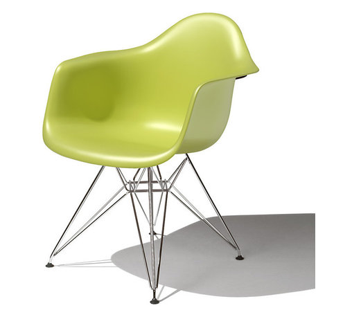 Herman Miller - Eames Molded Plastic Arm Chair - New materials, especially those that held promise for doing more with less, fascinated Charles and Ray Eames throughout their careers. Their fascination led to inventive modern furniture, such as the molded plastic chair.