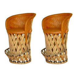 "Weave Back Mexican Equipale Bar Stools - Traditional Mexican hand crafted top quality Equipale bar stool with weave back. This stool Allows you to enjoy the elevated dining experience. Goes great with any outdoor/indoor setting. Use as a kitchen bar chair or as an addition to your rustic bar outside. Very comfortable, padded barstool. Dimensions: 36'' l x 42'' h x 24'' w Seat height is 28"". Barstools are sold in pairs Only. Price shown is per barstool."