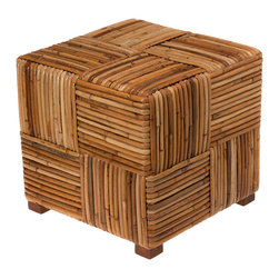 KOUBOO - Bound Rattan Stool & Side Table - 18.5 inches long x 18.5 inches wide x 17 inches high.
