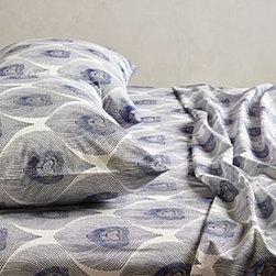Anthropologie - Peacock Plumes Sheet Set - *Set includes one flat sheet, one fitted sheet and two standard pillowcases