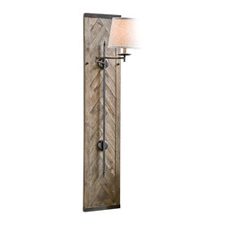 "Regina Andrew - Regina-Andrew Herringbone 60"" Swing-arm Sconce - A distressed light brown finish covers this contemporary sconce. The swing-arm lamp is securely held in place by an attractive minimalistic structure. Perfect for hallways or placing right beside a mirror. Design by Regina-Andrew. Distressed light brown finish. Herringbone design. Oatmeal linen shade. Maximum 60 watt or equivalent bulb (not included). On/off turn knob at socket. Includes 6 feet of cord. 60"" high. 12"" wide. Shade is 7"" across the top 9 1/2"" across the bottom 8 1/2"" high.  Distressed light brown finish.  Herringbone design.  Oatmeal linen shade.  Maximum 60 watt or equivalent bulb (not included).  On/off turn knob at socket.  Plug-in with 6 feet of cord.  60"" high.  12"" wide.  Shade is 7"" across the top 9 1/2"" across the bottom 8 1/2"" high."