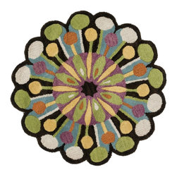 "Loloi Rugs - Loloi Rugs Azalea Collection - Dark Brown/Green, 3'-0"" x 3'-0"" Round - The Azalea Collection celebrates desirable round rugs in the most updated colors and patterns for today's fashionable interiors. Available in a broad range of styles, Azalea has a distinctive look that is achieved by its meticulously hand-tufted, wool construction. Made in India, the cut-and-loop textured rounds come in a varied palette that includes spring and fall hues, brights and everyday, familiar tones, too. These fresh rounds will add a dramatic wow-factor to any interior."