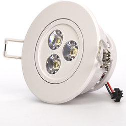 3 Watt LED Recessed Light Fixture - Aimable and Dimmable - Recessed Downlight with 3 x 1 Watt High Power LEDs. 95~140V AC operation. Available in Natural White - 4000K @ 200 lumen or Warm White - 3100K @ 200 lumen with medium spot 45 degree beam angle. White ABS housing with integral heatsink and polycarbonate lenses. Flush mounts in 2.70 inch hole with spring retaining clips. Pivots +/-30 degrees on one axis. Easily removed from flush mount bracket. Constant current dimmable driver included.