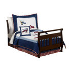 Sweet Jojo Designs - Aviator Toddler Bedding Set - Aeronautics aficionados in training — get ready for takeoff. This aviator toddler set has vintage Red Baron qualities and wonderful details. The 100 percent cotton, five-piece set includes a comforter, fitted sheet, flat sheet, pillow sham and pillowcase.