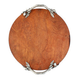 Olive Branch Cheese Tray - The noble and iconic fruit of the Mediterranean has been expressively modeled to provide the solid pewter handles for the traditional Olive Branch Cheese Tray, a disk of weighty, lustrous rare wood with incredibly realistic accents in silvery, polished metal.  Make a traditional statement when you serve with this elegant flat tray, a natural (and naturally water-resistant) beauty.