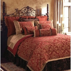 Jennifer Taylor Bacara Comforter/Duvet Set - With its regal color palette of jeweled garnet, rich gold, and chocolate brown, the Jennifer Taylor Bacara Comforter/Duvet Set is an instant way to add luxury to your master bedroom. This comforter set is rich in Baroque opulence, velvety textures, and silken sheen. It comes in a variety of size options, each with coordinating pillow shams finished with ornate trims, soft ruffles, and flirty fringe tassels.Additional Details10-piece set: 1 comforter/duvet: 110 x 96 inches1 bed skirt: 78 x 80 inches (18-inch depth)3 Euro shams: 26 x 26 inches2 kings shams: 21 x 37 inches3 décor pillows9-piece set: 1 comforter: 93 x 96 inches1 bed skirt: 60 x 80 inches (18-inch depth)2 Euro shams: 26 x 26 inches2 standard shams: 20 x 27 inches3 décor shams4-piece set: 1 comforter: 104 x 96 inches1 bed skirt: 60 x 80 inches (18-inch depth)2 king shams: 21 x 37 inchesAbout ACG Green Group, Inc.ACG Green Group is a home furnishing company based in Irvine, California and is a proud industry partner with the American Society of Interior Designers. ACG Green features Jennifer Taylor and Sandy Wilson, their exclusive home décor lines. These two complete collections offer designer home furniture, bedding sets, dining linens, curtains, pillows, and more in classic silhouettes, original designs, and rich colors to complement your home and life.