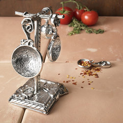 Pewter Measuring Spoons with Post, Vineyard - These vineyard-inspired measuring spoons are intertwined with grapes and leaves for an elegant addition to the kitchen. Displayed on the matching pewter base, they can be kept close at hand.