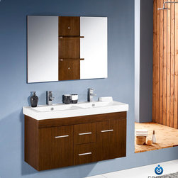 "48"" Vilanie Modern Double Bathroom Vanity (FVN8113WG) - The Fresca Vilanie Modern Double Bathroom Vanity is known for its clean, straight lines and its stylish wenge finish. Its wall mounted design provides an open, contemporary atmosphere for your bathroom. Its double sinks, each with single hole faucet installation, are perfect for couples or busy rest rooms. It includes a mirror with small shelves in a matching finish. For even more storage, you can add wall mounted shelves or a small side cabinet that match its modern design and finish. On top of all this, you can also choose a free faucet or upgrade to a premium faucet at a discount!"