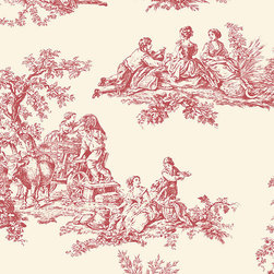 Large Toile in Red and Cream - GC29851 - Collection:Grand Chateau