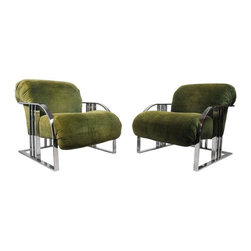 Rare Green Velvet Lounge Chairs by Milo Baughman - Rare pair of Art Deco-inspired lounge chairs by Milo Baughman for Thayer Coggin. Original green velvet is faded and should be replaced. One chair has a repair to the frame (a broken weld that was fixed), and because of this there is an issue in the chrome along this joint. However, it's located right under the seat cushion, so it is mostly obscured. These chairs are extremely comfortable, and will look AMAZING reupholstered in the fabric of your choice!