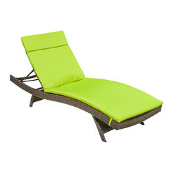 Great Deal Furniture - Lakeport Outdoor Adjustable Chaise Lounge Chair w/ Colored Cushion, Green - Add some stylish comfort to your patio decor with these wicker lounges. Complete with colored cushions to add a touch of fun to your outdoor space, these lounges will have you relaxing in style. The chaise lounge chair is weather-resistant and has an adjustable angle back and folding legs for easy stacking.