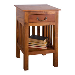 Mission Reclaimed Teak 1 Drawer Nightstand - Product Features:
