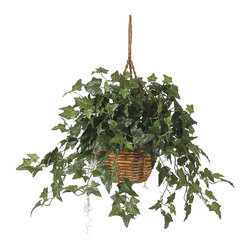 Nearly Natural - English Ivy Hanging Basket Silk Plant - This amazing English Ivy Bush with hanging basket speaks for itself. This silk plant features 360 emerald green leaves meticulously shaped and bursting out of its beautiful wicker basket. It stands 17 inches tall, but grows to 26 inches when the hanging rope is extended. Certain to brighten up any space, this piece will add warmth and comfort. Color: Variegated Green, Height: 26 in, Wicker Basket: H 6.25 in, W 10.5 in. Colors: Green; # of Leaves: 360 Leaves; Pot Size: W: 10.5 in, H: 6.25 in. Height: 26 in; Width: 36 in; Depth: 36 in.