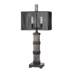 Uttermost - Arcada Metal Table Lamp - There are table lamps and then there is 'The Table Lamp.' You'll love this stunning designer lamp with its see-through black metal cage shade and retro tubular bulbs. It's truly a piece of art that glows.