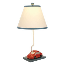 Benzara - Metal Table Lamp Perfect Lightning Choice for Kid's Bedroom - Enhance the ambience and setting of the room with this table lamp. This is an elegant metal table lamp which is a perfect lightning choice for your kid's bedroom. Brandishing a miniature car at the bottom and a beige colored lamp with blue accents, this decorative accessory is impressive in looks. The lamp is affixed to a metallic plank smeared in matte black to secure its position. You can place this metal lamp in any corner of the room to create a focal point. Blending well with any kind of decor, this lamp flaunts a simple yet admirable design. It is equipped with genuine electrical fittings to make it fully functional. It has a sturdy construction and ensures a long shelf life due to its durability. A wonderful gifting option, you can present it to your kids on birthday.