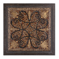 Uttermost - Ardah - Dark, rustic bronze frame with mosaic patterns finished in aged penshell, distressed black and eggshell.