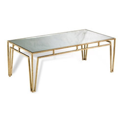 Interlude - Esme Cocktail Table - The antique gold legs and mirrored top of the Esme Cocktail Table combine to add an element of character to that perfect space.