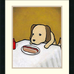 Amanti Art - Luke Chueh 'Revenge is a Dish (Dog)' Framed Art Print 18 x 22-inch - Los Angeles based painter and graphic designer Luke Chueh plays in that fine line between cute and macabre.