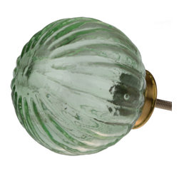 """GlideRite Hardware - GlideRite 2-5/8"""" Large Round Hand Blown Glass Grooved India Cabinet Knob Green - These absolutely gorgeous hand blown glass knobs from India are each unique to brighten up your kitchen or bathroom cabinets, and bring a personal touch to your house. These knobs will update any tired furniture or give your kitchen cupboards a glamorous makeover without the hefty price tag!"""