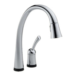 Delta - Delta 980T-DST Pilar 1-Handle Kitchen Faucet, Touch2O Technology, Chrome - Delta 980T-DST Pilar Collection features a high arc design for graceful function  with a sleek design. The Delta 980T-DST is a one handle Pulldown Faucet in Chrome Touch Activated.