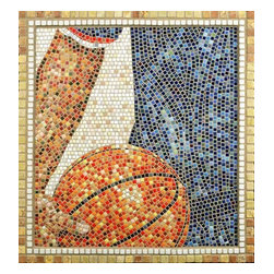 """All American Mosaic Art - I use the ancient medium of mosaic to create 21st century imagery. The All American displays our affection for sports, but basketball specifically. 29.5"""" x 28"""" in dimension, All American is created from micro mosaic tiles (3/8"""") and framed in marble. It is ready to hang"""