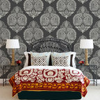 Large Annapakshi Indian Damask Wall Stencil - Large Annapakshi Indian Damask Wall Stencil from Royal Design Studio for walls, furniture, ceiling, floor, or fabric.