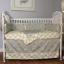 Hoohobbers Burst Sterling 4 Piece Crib Bedding Set - Exciting and subdued at the same time the Hoohobbers Burst Sterling 4 Piece Crib Bedding Set features a neutral design that will add charm and style to your child's first room. From the ground up you'll get to enjoy the colorful burst pattern on the dust ruffle with an 18-inch drop. The fitted sheet has a complementary weave design and the extra-large double-sided blanket is made out of snuggly 100% cotton flannel. At 33 x 44 inches this fabric-backed blanket is perfect for letting your child catch a few Z's. The bumpers can be attached to most any crib with fabric ties and when you need to put it in the wash simply remove the inserts wash the bumpers and then slide the inserts back in and you've kept their shape and clean look inside your crib. Start them off right in this cozy and complete bedding set.About HoohobbersBased in Chicago Hoohobbers has designed and manufactured its own line of products since 1981 beginning with the now-classic junior director's chair. Hoohobbers makes both hard goods (furniture) and soft goods. Hoohobbers' hard goods are not your typical furniture products; they fold are lightweight and portable and are made to be carried by children all around the house. Even outdoors Hoohobbers' hard goods are 100 percent water-safe. At the same time they are plenty durable and can take the abuse children often give. Hoohobbers' soft goods are fabric items ranging from bibs to bedding from art smocks to Moses baskets.Hoohobbers' products are recognized by independent third parties for their quality and performance. Hoohobbers has received Best Design Awards from America's Juvenile Products Association each time selected from more than 20 000 products. Hoohobbers has also received the Parents' Choice Award and no Hoohobbers product has ever been subject to consumer recall. Furthermore the company's products are often featured in leading women's and children's publications.