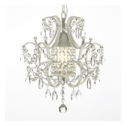 Gallery - Gallery 592-1 1 Light 1 Tier Wrought Iron and Crystal Chandelier - Features: